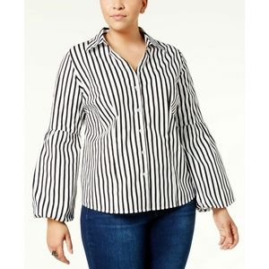 INC Black White Striped Bell-Sleeve Button Shirt